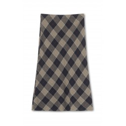 Graumann Lara Skirt Checked Soft Wool Marine